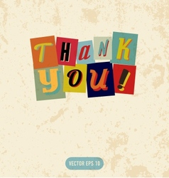 Thank you sign in retro doodle style vector