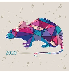 The 2020 new year card with Rat made of triangles vector