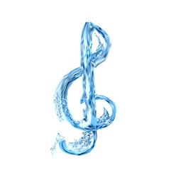 Treble clef in water vector