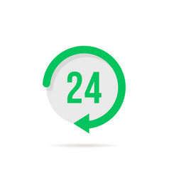 twenty-four hours a day green button vector image