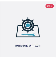 two color dartboard with dart icon from sports vector image