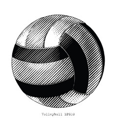 Volleyball hand draw vintage style black and vector