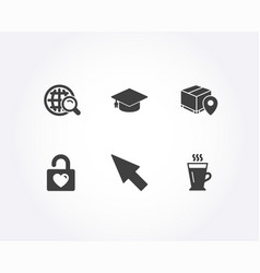Wedding locker mouse cursor and graduation cap vector