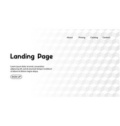 White landing page minimal template vector