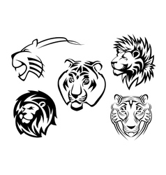 Wild lions tigers and panthers vector