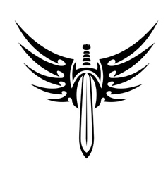 Winged sword tribal tattoo vector