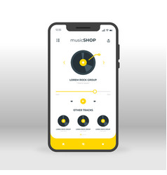 yellow online music shopping ui ux gui screen for vector image