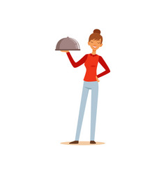 young cheerful woman holding platter cloche vector image