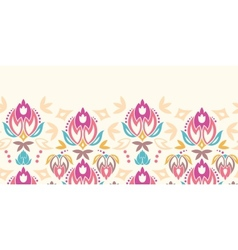 Abstract damask tulips horizontal seamless pattern vector image
