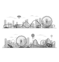 Fun fair amusement park landscape silhouette with vector image vector image