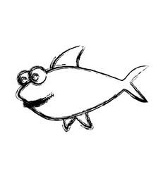 monochrome sketch of big shark vector image