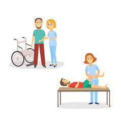nurse helping patient to stand from wheelchair vector image