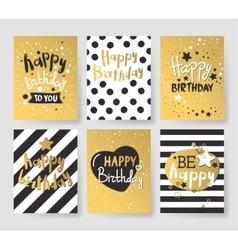 Set of beautiful birthday invitation cards vector image vector image