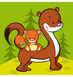 weasel and squirrel in the wood vector image