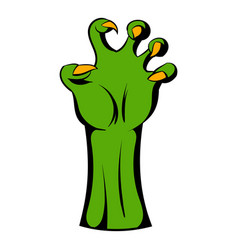 witch green hand icon cartoon vector image
