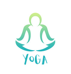 yoga class logo element over white man in lotus vector image vector image