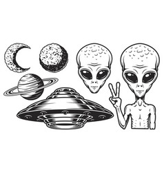 aliens and ufo set vector image vector image