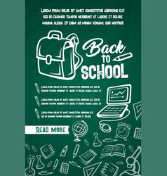 Back to school lesson supplies posters vector