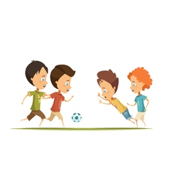 Boys Playing Soccer Cartoon Style vector image