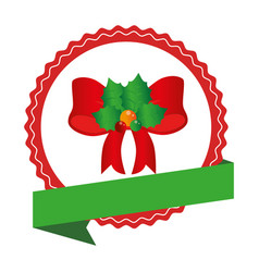 circular emblem with christmas red bow with holly vector image