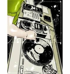 dj and vinyl disc vector image