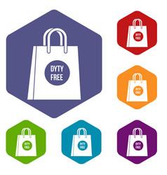 duty free shopping bag icons set vector image