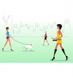 fashion ladies on the way vector image