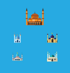 flat icon building set of mosque structure vector image vector image