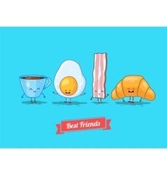 funny cartoon Funny cup egg bacon vector image