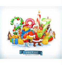 Merry Christmas and Happy New Year 2017 Santa vector image vector image