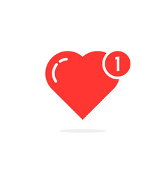 red simple heart like notification vector image