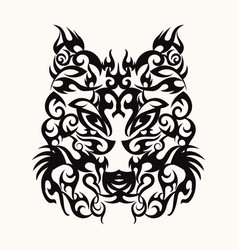 wolf head art tattoo design tribal vector image