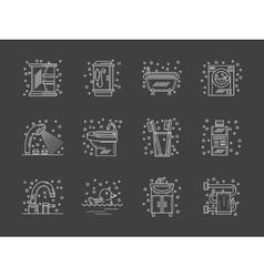 Stylish flat white line bathroom icons set vector image