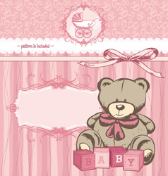 welcome baby girl announcement card vector image vector image