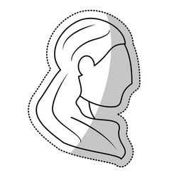 head woman bride wedding outline vector image