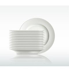 porcelain plates on a white background vector image vector image