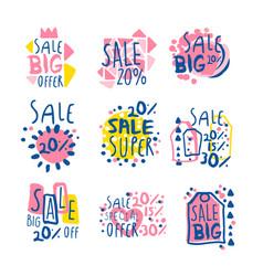 super sale set for label design sale shopping vector image