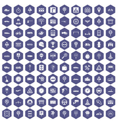 100 traffic icons hexagon purple vector