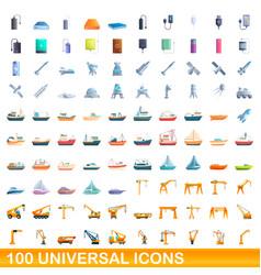 100 universal icons set cartoon style vector