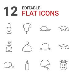 12 cap icons vector image