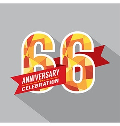 66th Years Anniversary Celebration Design vector image