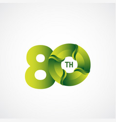 80 th anniversary celebrations green gradient vector