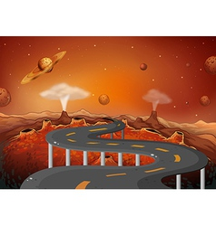 A road with planets in the outer space vector