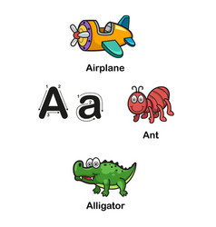alphabet letter a-airplane ant alligator vector image