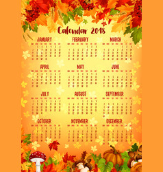 Autumn calendar template of fall nature season vector