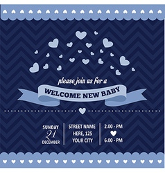 Baby shower invitation with hearts in retro style vector