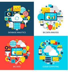 Big data flat concepts vector