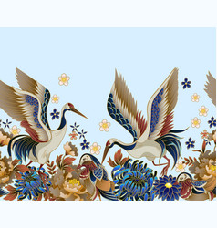border with mandarin ducks flowers and cranes vector image