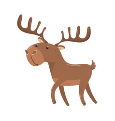 Brown deer with antlers woodland cartoon animal vector