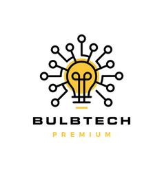 bulb tech electric circuit logo icon vector image